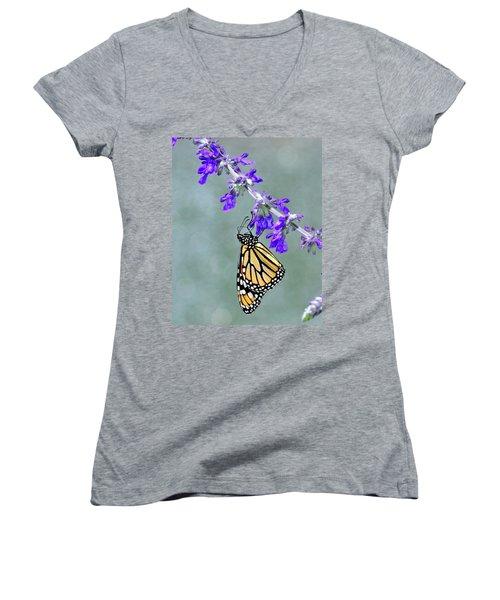 Monarch On Purple Women's V-Neck