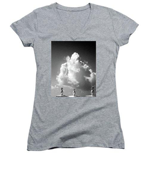 Women's V-Neck T-Shirt (Junior Cut) featuring the photograph Monument by Lizi Beard-Ward