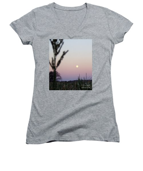 Women's V-Neck T-Shirt (Junior Cut) featuring the photograph Moon by Andrea Anderegg