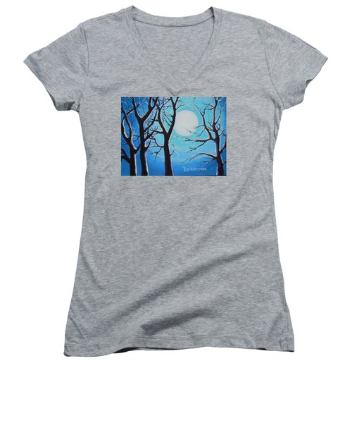 Women's V-Neck T-Shirt (Junior Cut) featuring the painting Moon Light by Dan Whittemore