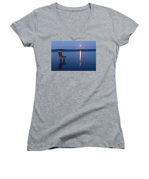 Women's V-Neck T-Shirt (Junior Cut) featuring the photograph Moon View by Gert Lavsen