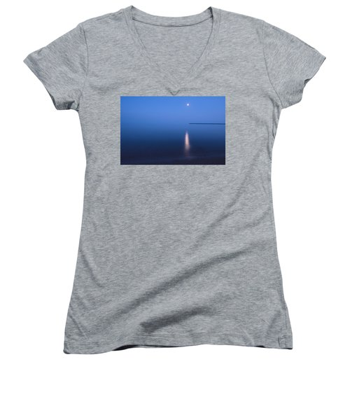 Moonrise On Lake Superior Women's V-Neck T-Shirt