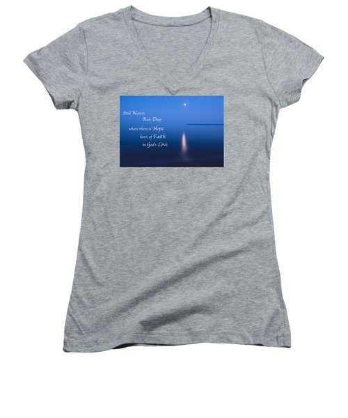 Moonrise On Lake Superior With Quote Women's V-Neck T-Shirt