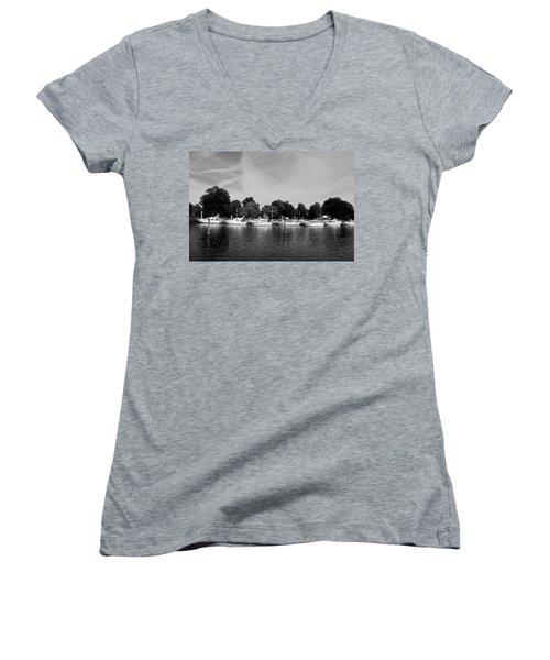 Women's V-Neck T-Shirt (Junior Cut) featuring the photograph Mooring Line by Maj Seda