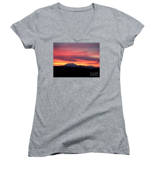 Women's V-Neck T-Shirt (Junior Cut) featuring the photograph Morning Glow by Chalet Roome-Rigdon