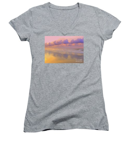 Women's V-Neck T-Shirt (Junior Cut) featuring the photograph Morning On The Beach  by Lydia Holly