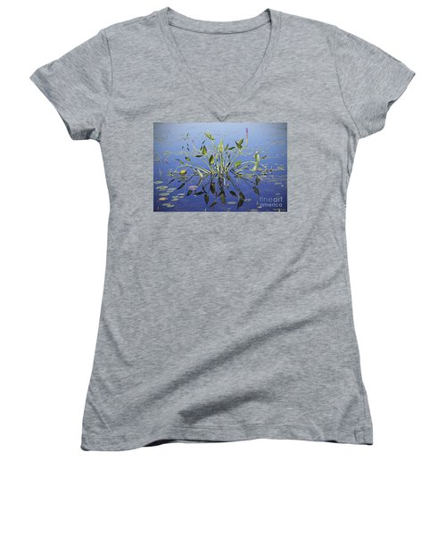 Women's V-Neck T-Shirt (Junior Cut) featuring the photograph Morning Reflection by Eunice Gibb
