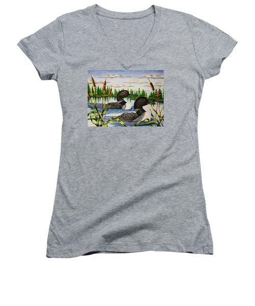Morning Swim Women's V-Neck T-Shirt (Junior Cut) by Bruce Bley