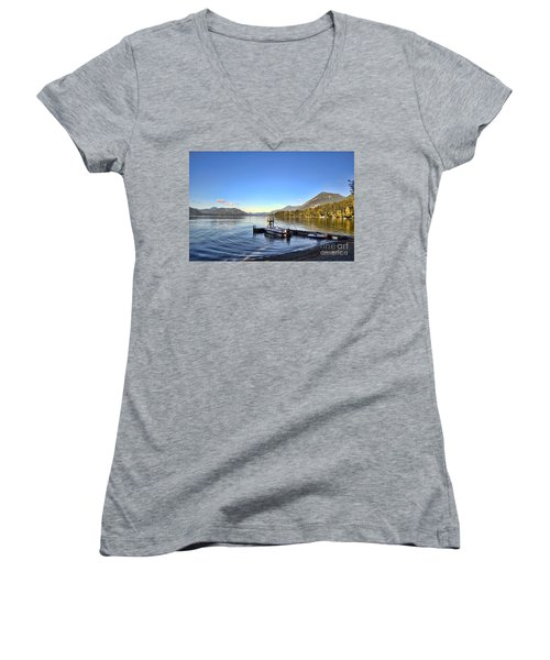 Mornings In British Columbia Women's V-Neck (Athletic Fit)