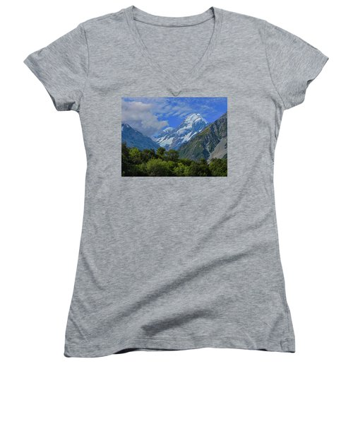 Women's V-Neck T-Shirt (Junior Cut) featuring the photograph Mount Cook by David Gleeson