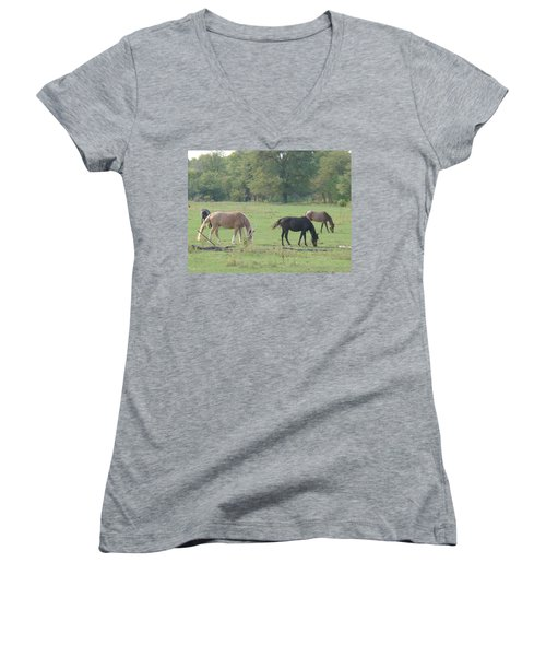 Women's V-Neck T-Shirt (Junior Cut) featuring the photograph Mowing The Lawn by Bonfire Photography