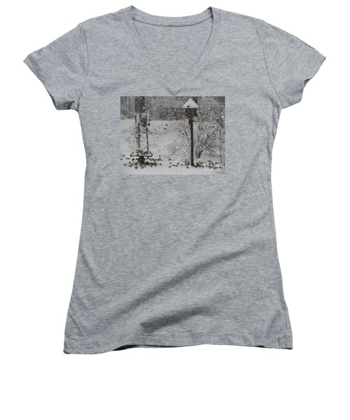 Women's V-Neck T-Shirt (Junior Cut) featuring the photograph My Backyard by Donna Brown