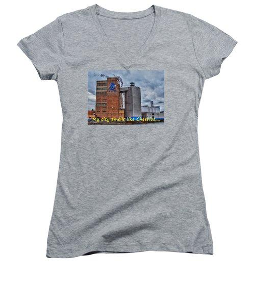 My City Smells Like Cheerios Women's V-Neck T-Shirt (Junior Cut) by Guy Whiteley