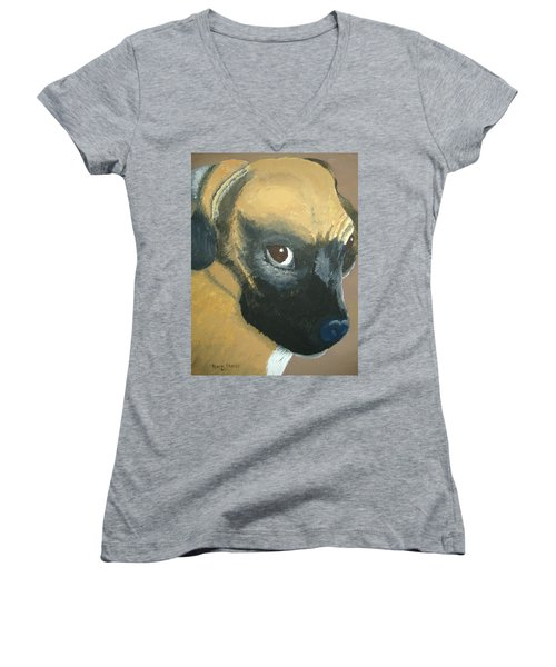 Women's V-Neck T-Shirt (Junior Cut) featuring the painting My Name Is Attitude by Norm Starks