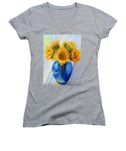 My Sunflowers Women's V-Neck T-Shirt (Junior Cut) by Marlene Book