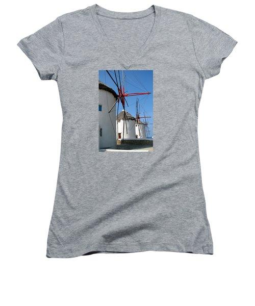 Women's V-Neck T-Shirt (Junior Cut) featuring the photograph Mykonos Windmills by Carla Parris