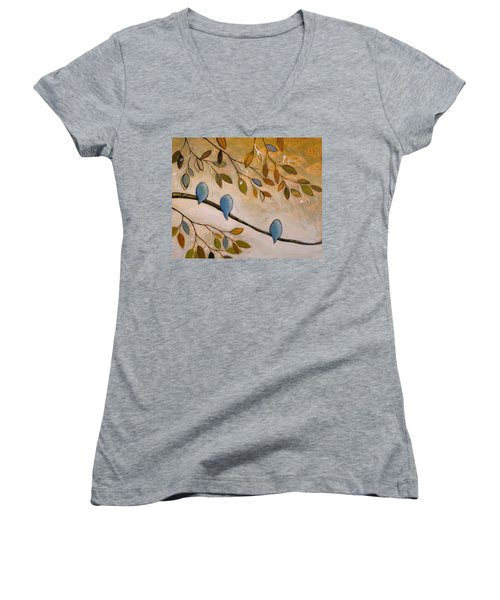 Nature Birds Painting...peaceful Garden Women's V-Neck T-Shirt (Junior Cut) by Amy Giacomelli