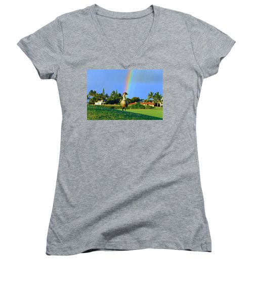Women's V-Neck T-Shirt (Junior Cut) featuring the photograph Nene At The End Of The Rainbow by Lynn Bauer