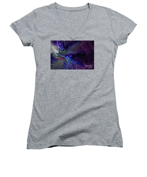 Neon Zebra Women's V-Neck T-Shirt (Junior Cut) by Greg Moores