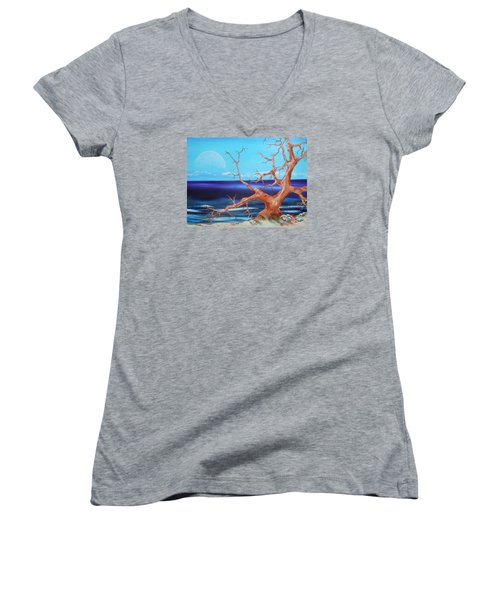 Women's V-Neck T-Shirt (Junior Cut) featuring the painting Never Alone by Dan Whittemore