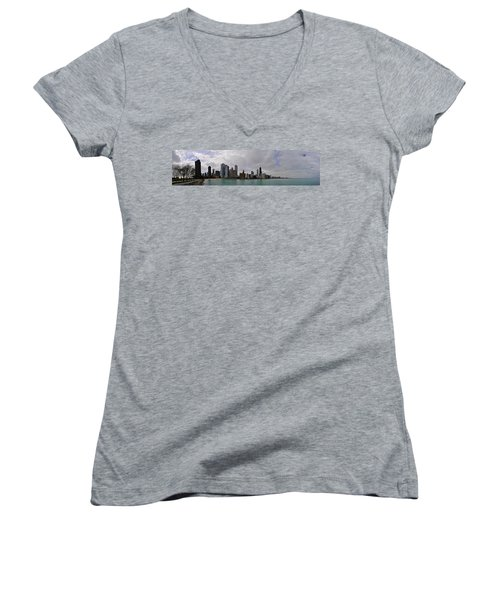 Women's V-Neck T-Shirt (Junior Cut) featuring the photograph North Of Navy Pier From The Series Chicago Skyline by Verana Stark