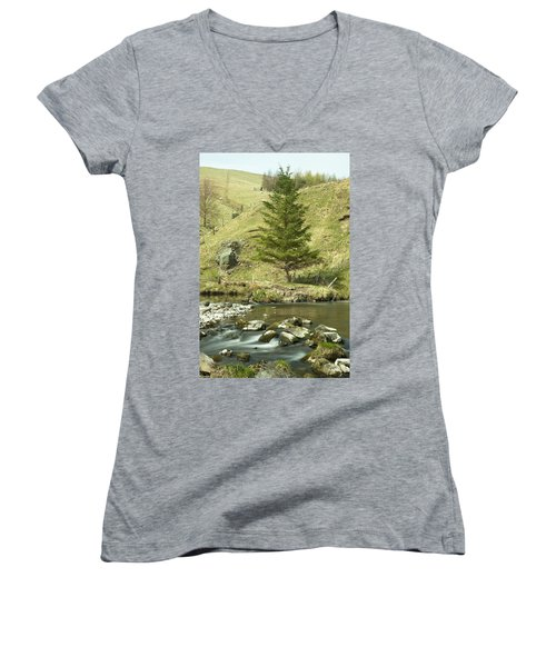 Women's V-Neck T-Shirt (Junior Cut) featuring the photograph Northumberland, England A River Flowing by John Short