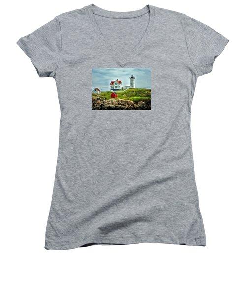 Nubble Lighthouse Women's V-Neck T-Shirt (Junior Cut) by Tricia Marchlik