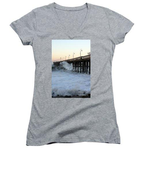 Ocean Wave Storm Pier Women's V-Neck