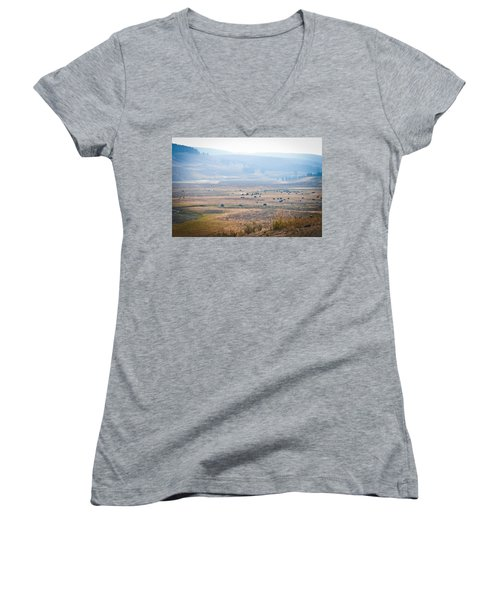 Women's V-Neck T-Shirt (Junior Cut) featuring the photograph Oh Home On The Range by Cheryl Baxter
