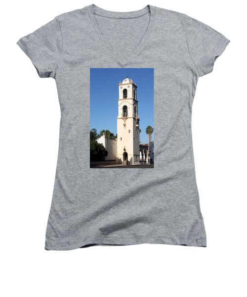 Women's V-Neck T-Shirt (Junior Cut) featuring the photograph Ojai Post Office Tower by Henrik Lehnerer