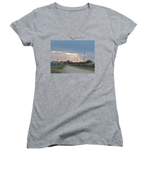 Oklahoma Beamer Women's V-Neck T-Shirt (Junior Cut) by Adam Cornelison