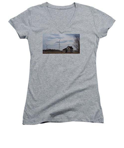 Women's V-Neck T-Shirt (Junior Cut) featuring the photograph Old And New by Barbara McMahon