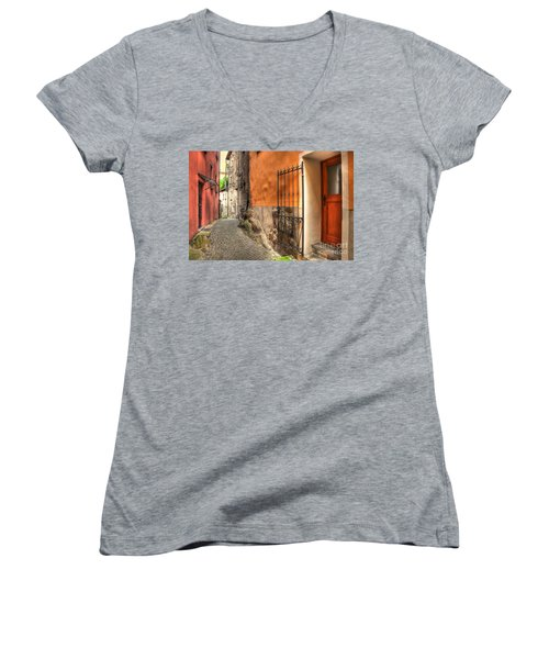 Old Colorful Rustic Alley Women's V-Neck (Athletic Fit)