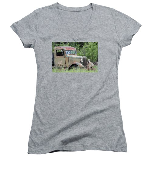 Abandoned Truck In Field Women's V-Neck T-Shirt (Junior Cut) by Athena Mckinzie