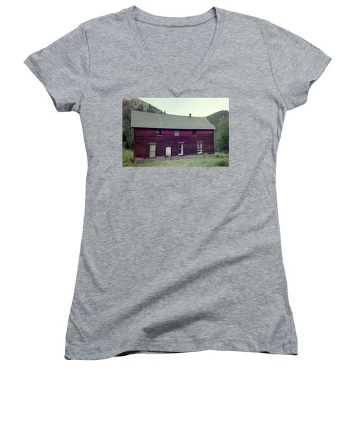 Women's V-Neck T-Shirt (Junior Cut) featuring the photograph Old Hotel by Bonfire Photography