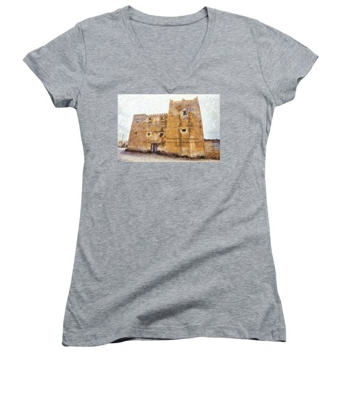 Old Mansion In Mirbat Women's V-Neck T-Shirt
