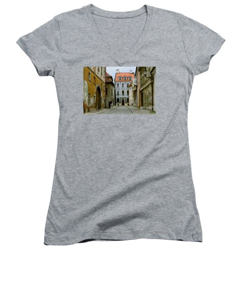 Women's V-Neck T-Shirt (Junior Cut) featuring the photograph Old Street In Bratislava by Les Palenik