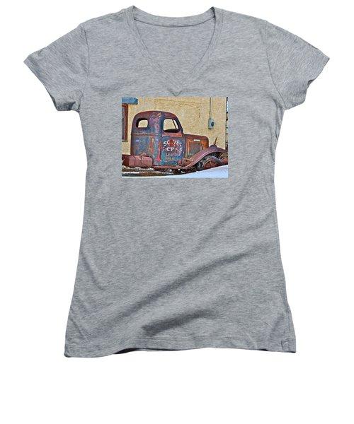 Old Truck Women's V-Neck T-Shirt (Junior Cut) by Johanna Bruwer