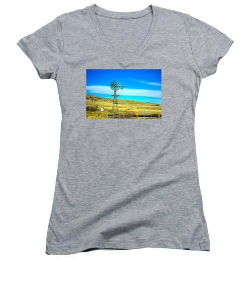 Women's V-Neck T-Shirt (Junior Cut) featuring the photograph Old Windmill by Shannon Harrington