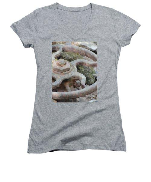 Women's V-Neck T-Shirt (Junior Cut) featuring the photograph Open Or Close by Tiffany Erdman