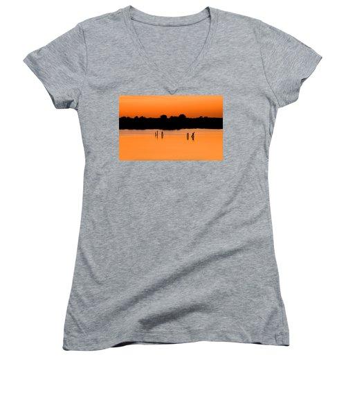Orange Sunset Florida Women's V-Neck T-Shirt