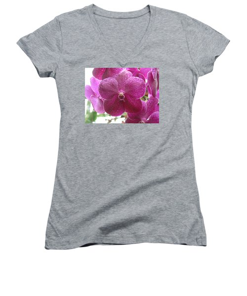 Orchid Cluster Women's V-Neck (Athletic Fit)