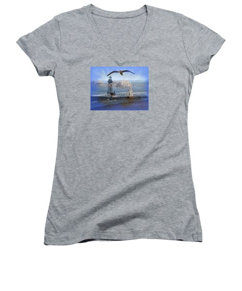 Women's V-Neck T-Shirt (Junior Cut) featuring the photograph Oregon Coast Composite by Nick Kloepping