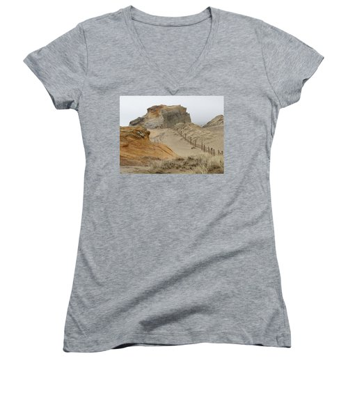 Women's V-Neck T-Shirt (Junior Cut) featuring the photograph Oregon Sand Dunes by Athena Mckinzie