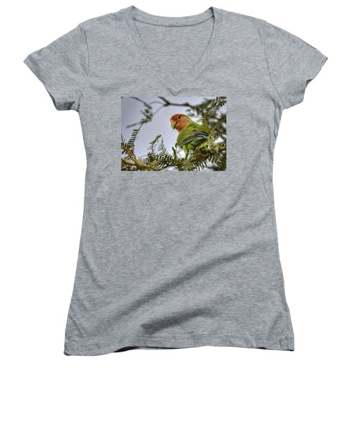 Over My Shoulder  Women's V-Neck T-Shirt (Junior Cut) by Saija  Lehtonen