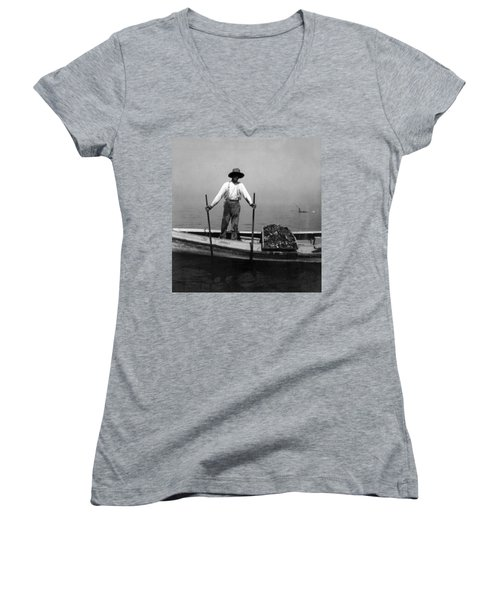 Oyster Fishing On The Chesapeake Bay - Maryland - C 1905 Women's V-Neck (Athletic Fit)