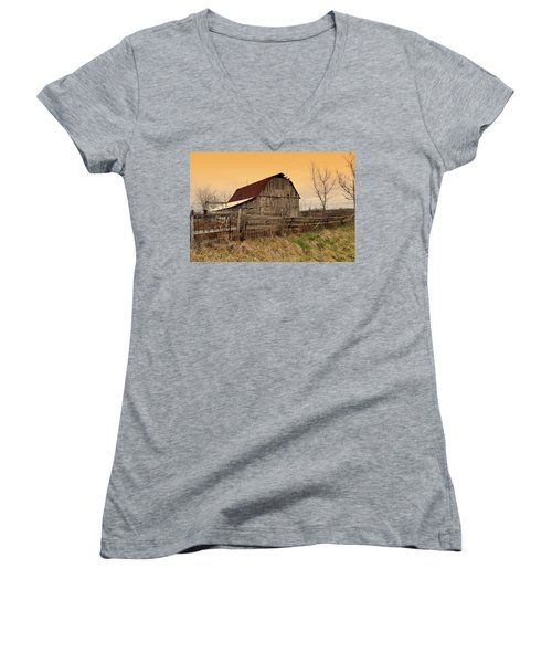 Women's V-Neck T-Shirt (Junior Cut) featuring the photograph Ozark Barn 1 by Marty Koch
