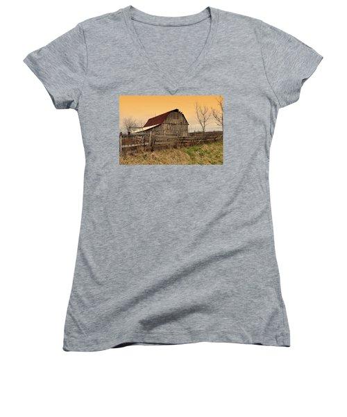 Women's V-Neck T-Shirt (Junior Cut) featuring the photograph Ozark Barn 1 by Marty Koch