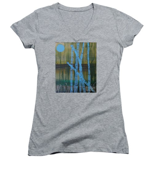 Pale Blue Moon Women's V-Neck T-Shirt (Junior Cut)