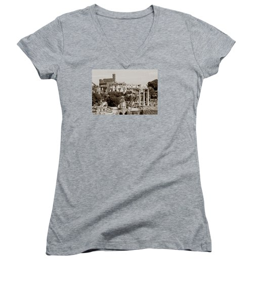 Women's V-Neck T-Shirt (Junior Cut) featuring the photograph Panoramic View Via Sacra Rome by Tom Wurl